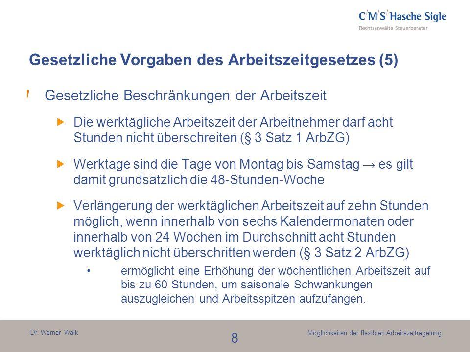 Gesetzliche Vorgaben des Arbeitszeitgesetzes (5)