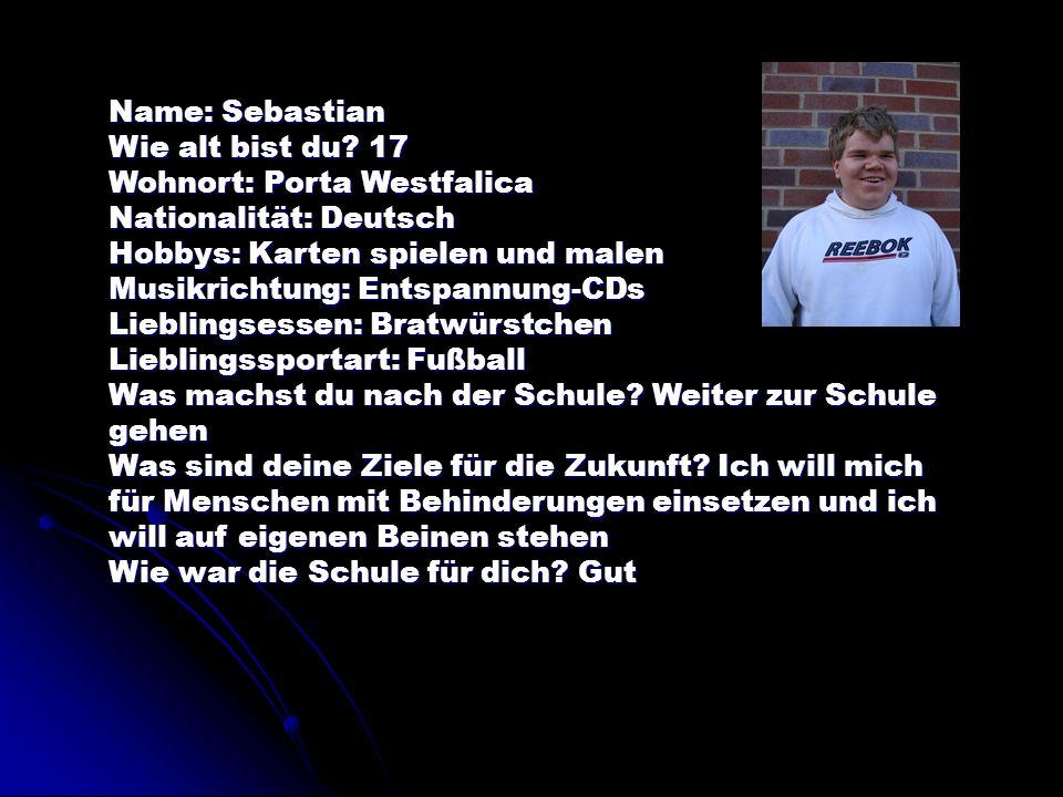Name: Sebastian Wie alt bist du 17. Wohnort: Porta Westfalica. Nationalität: Deutsch. Hobbys: Karten spielen und malen.