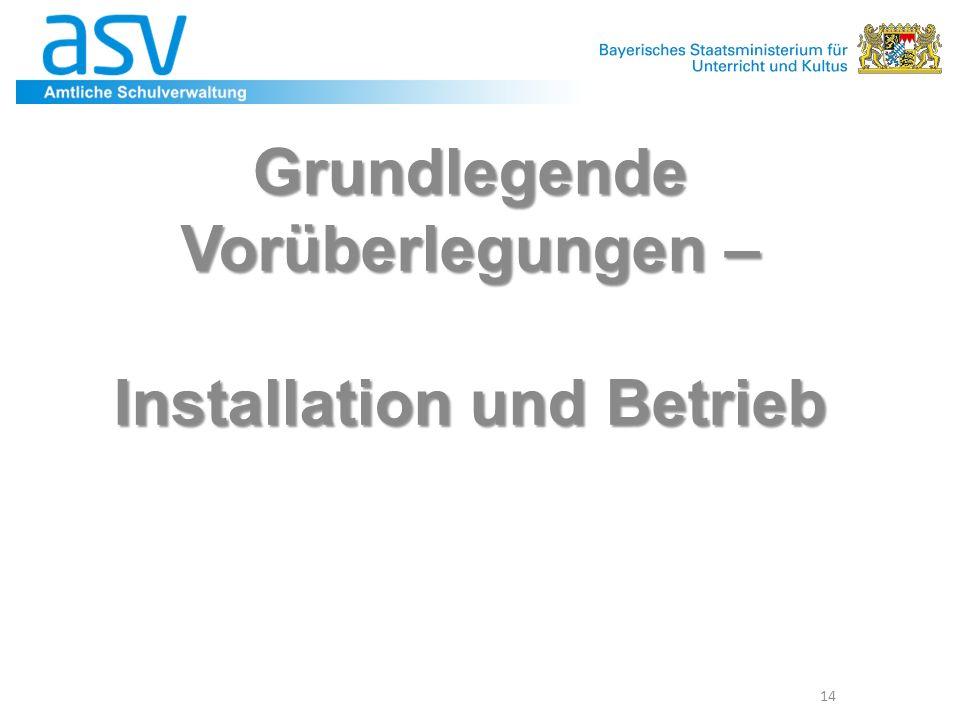 Grundlegende Vorüberlegungen – Installation und Betrieb