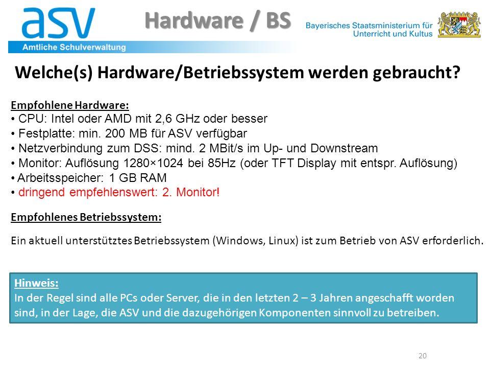 Hardware / BS Welche(s) Hardware/Betriebssystem werden gebraucht