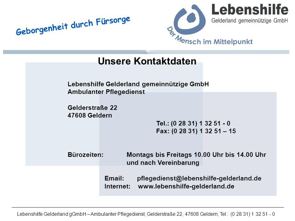 Unsere Kontaktdaten Lebenshilfe Gelderland gemeinnützige GmbH
