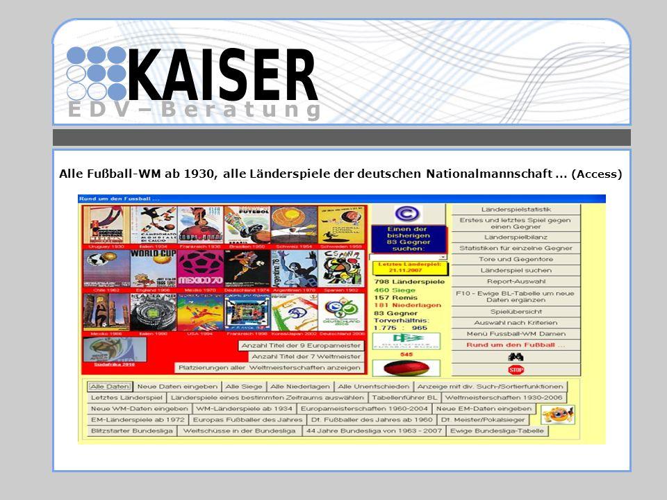 Alle Fußball-WM ab 1930, alle Länderspiele der deutschen Nationalmannschaft ... (Access)