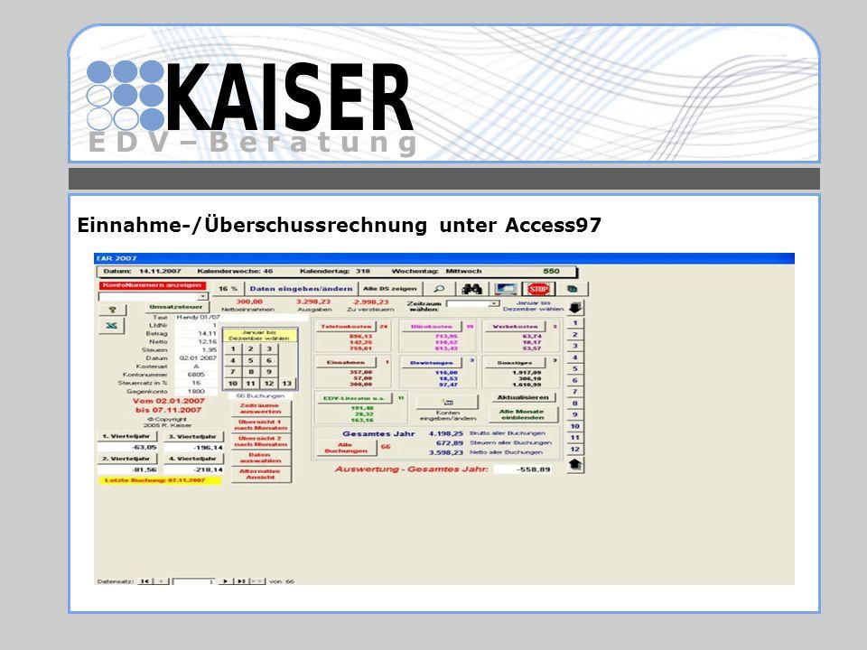 Einnahme-/Überschussrechnung unter Access97