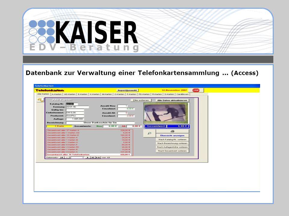 Datenbank zur Verwaltung einer Telefonkartensammlung ... (Access)