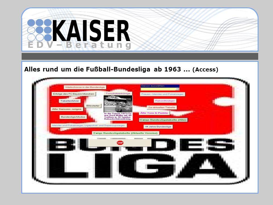 Alles rund um die Fußball-Bundesliga ab 1963 ... (Access)