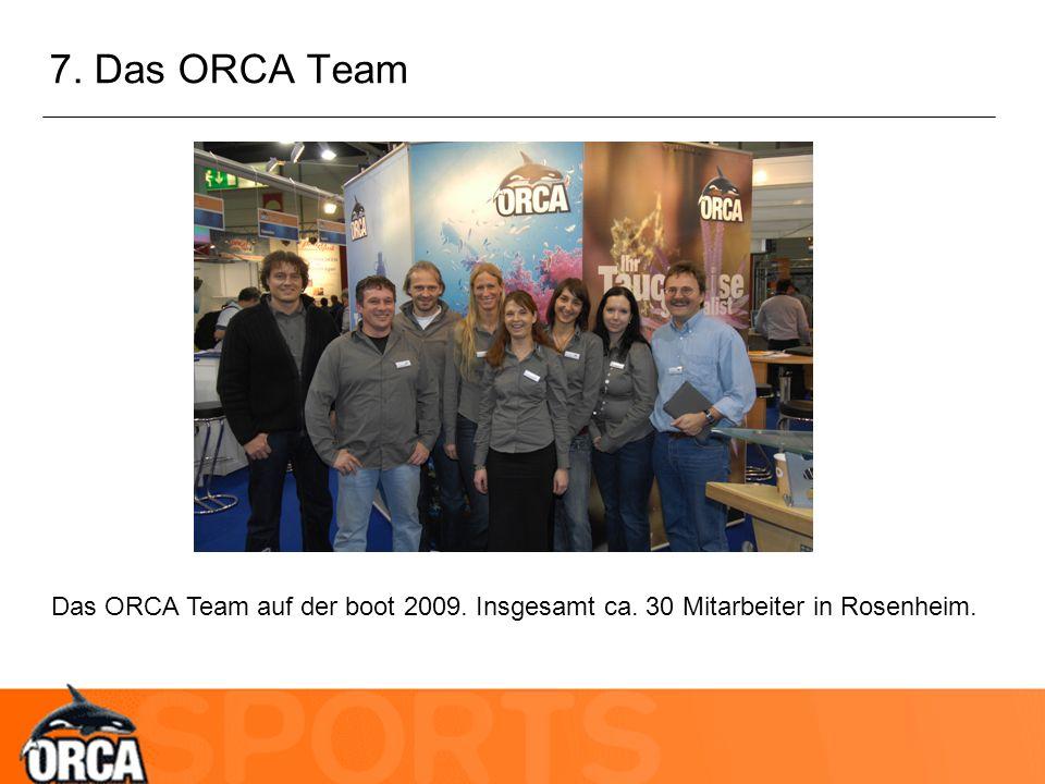 7. Das ORCA Team Das ORCA Team auf der boot 2009. Insgesamt ca. 30 Mitarbeiter in Rosenheim.