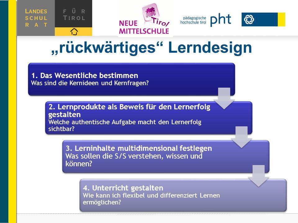"""""""rückwärtiges Lerndesign"""