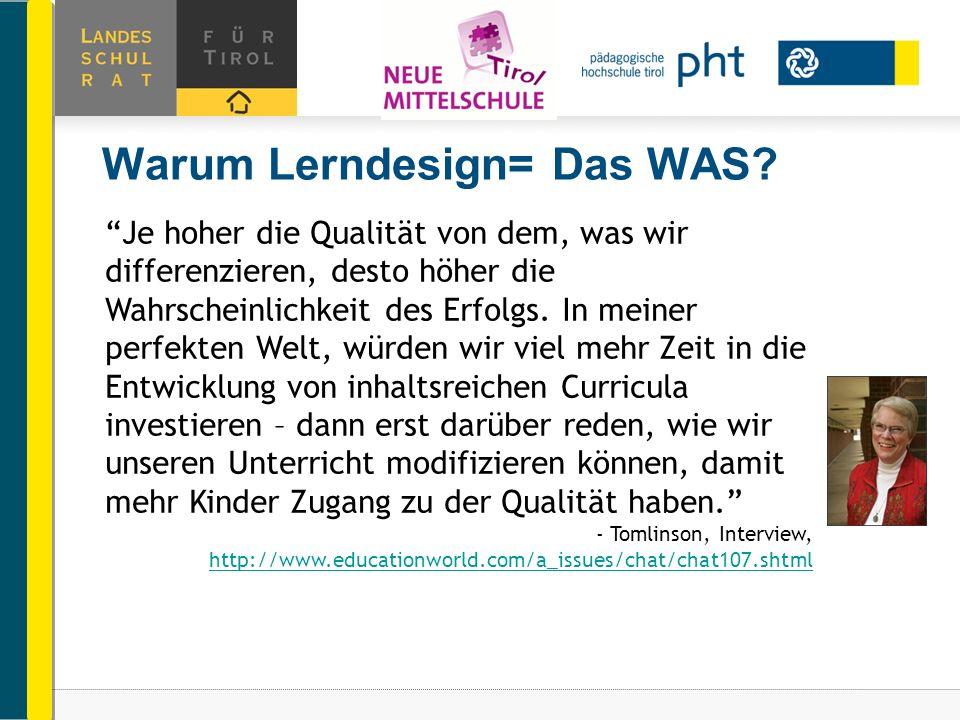 Warum Lerndesign= Das WAS