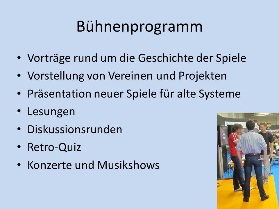 Bühnenprogramm Vorträge rund um die Geschichte der Spiele