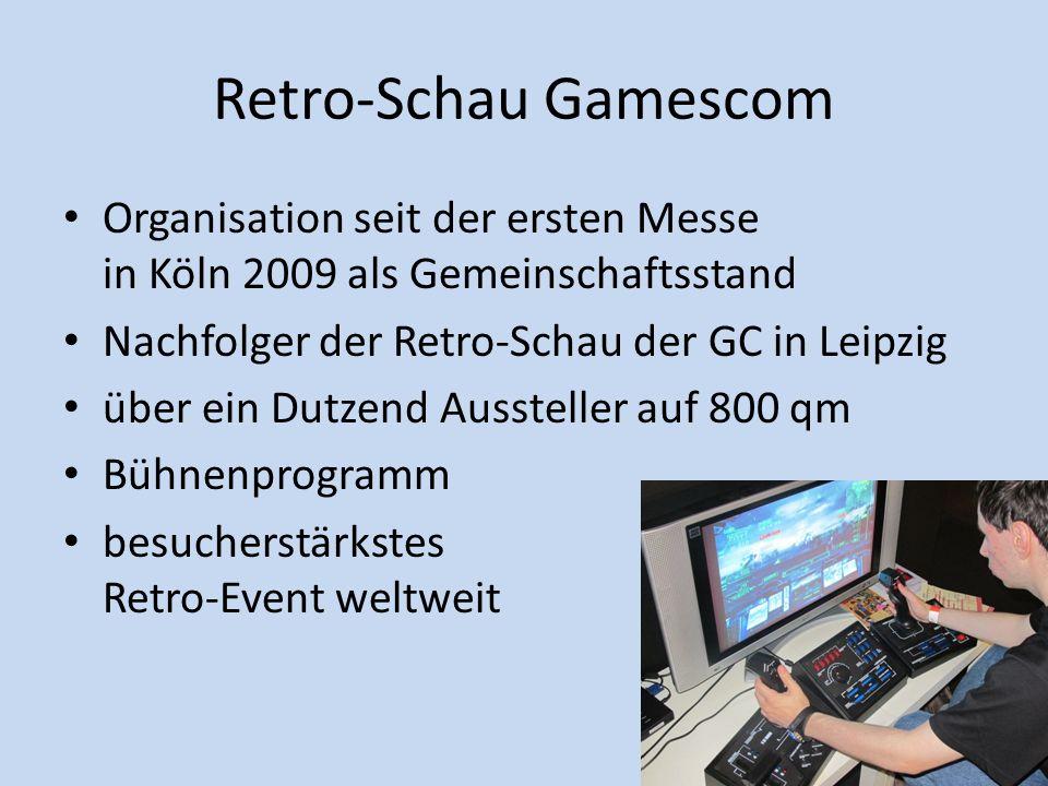 Retro-Schau Gamescom Organisation seit der ersten Messe in Köln 2009 als Gemeinschaftsstand. Nachfolger der Retro-Schau der GC in Leipzig.