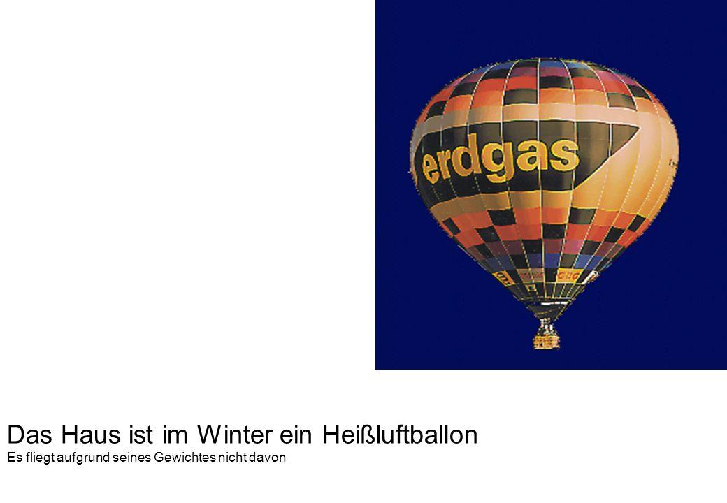Das Haus ist im Winter ein Heißluftballon Es fliegt aufgrund seines Gewichtes nicht davon