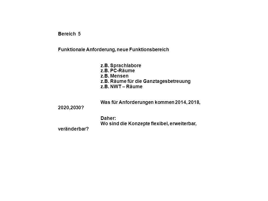 Bereich 5 Funktionale Anforderung, neue Funktionsbereich. z.B. Sprachlabore. z.B. PC-Räume. z.B. Mensen.