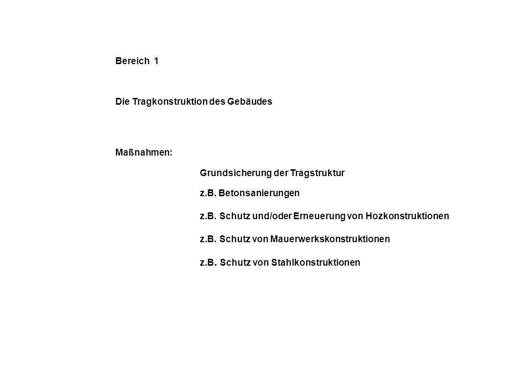 Bereich 1 Die Tragkonstruktion des Gebäudes. Maßnahmen: Grundsicherung der Tragstruktur. z.B. Betonsanierungen.