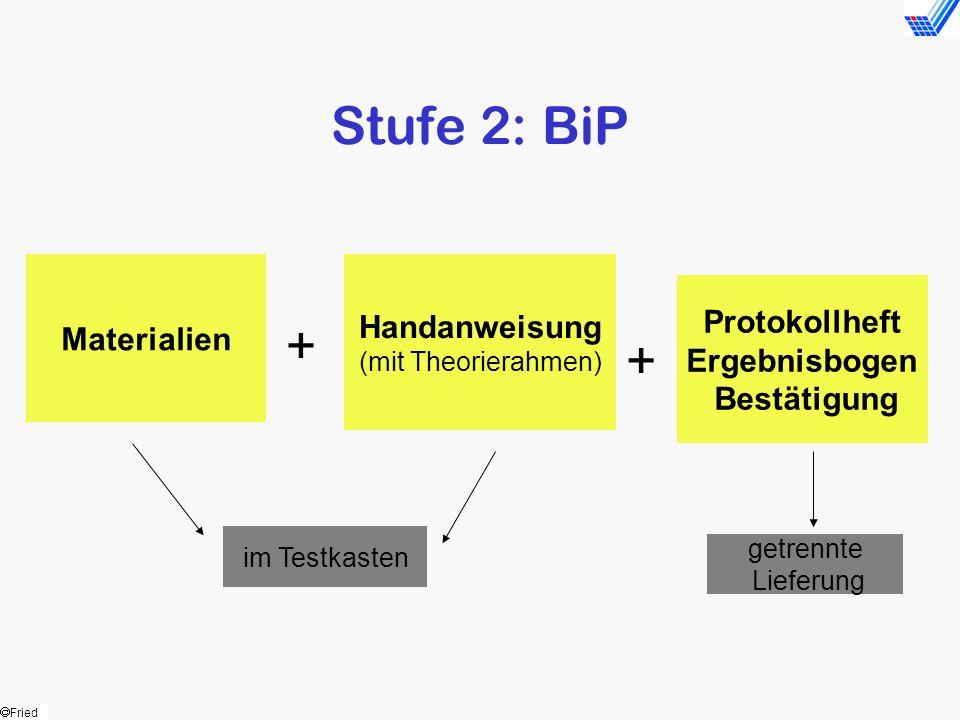 Stufe 2: BiP + + Handanweisung Materialien Protokollheft Ergebnisbogen