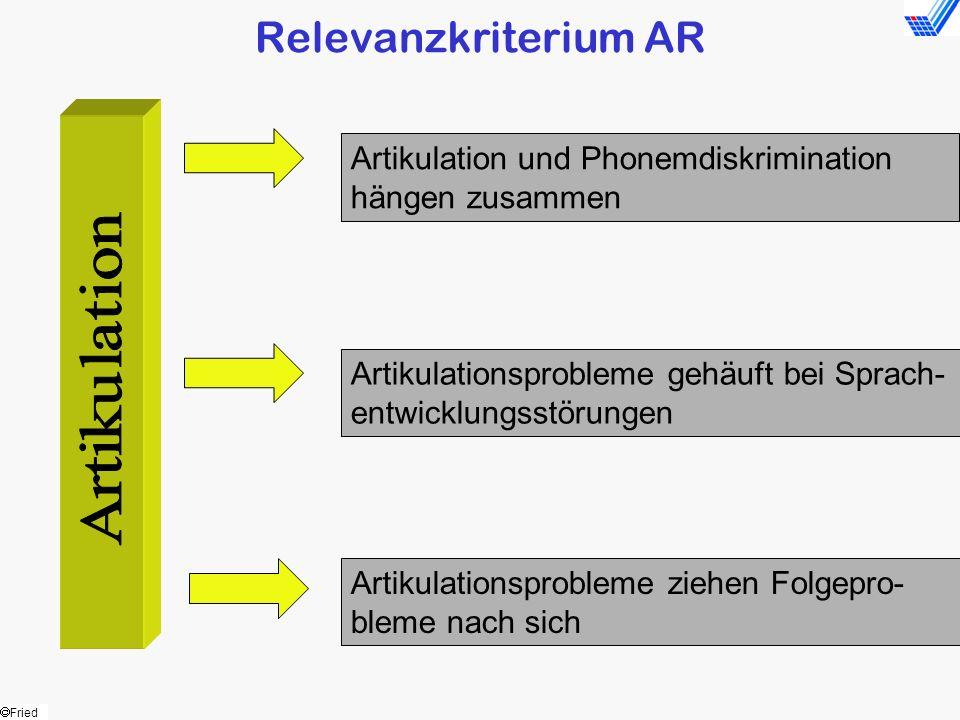 Relevanzkriterium AR Artikulation