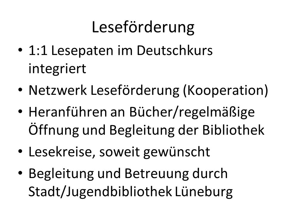 Leseförderung 1:1 Lesepaten im Deutschkurs integriert