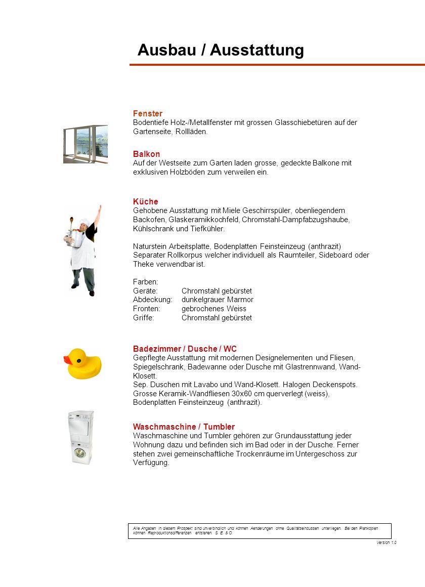 Ausbau / Ausstattung Fenster Balkon Küche Badezimmer / Dusche / WC