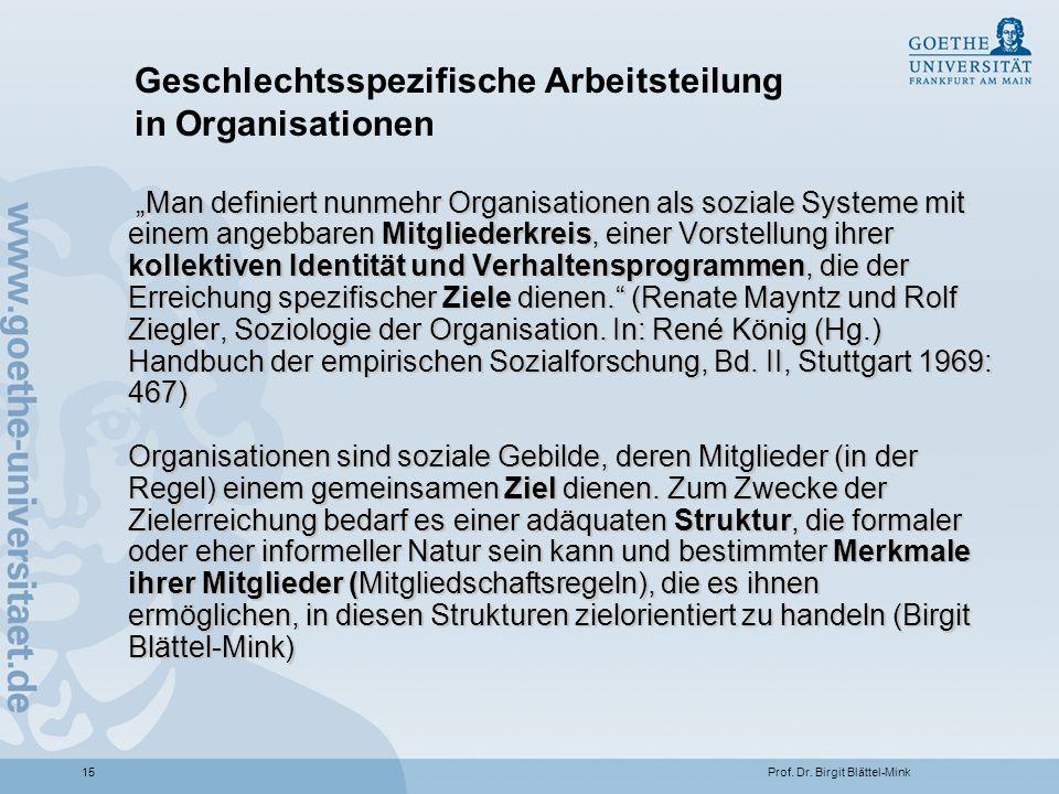 Geschlechtsspezifische Arbeitsteilung in Organisationen