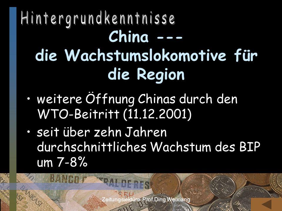 China --- die Wachstumslokomotive für die Region
