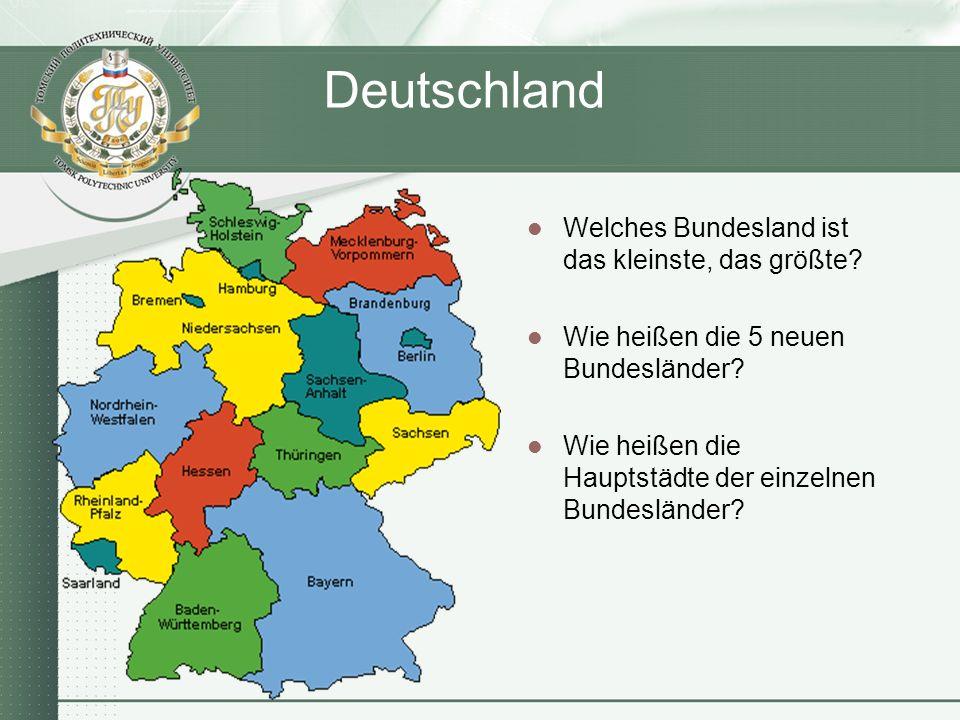 Deutschland Welches Bundesland ist das kleinste, das größte