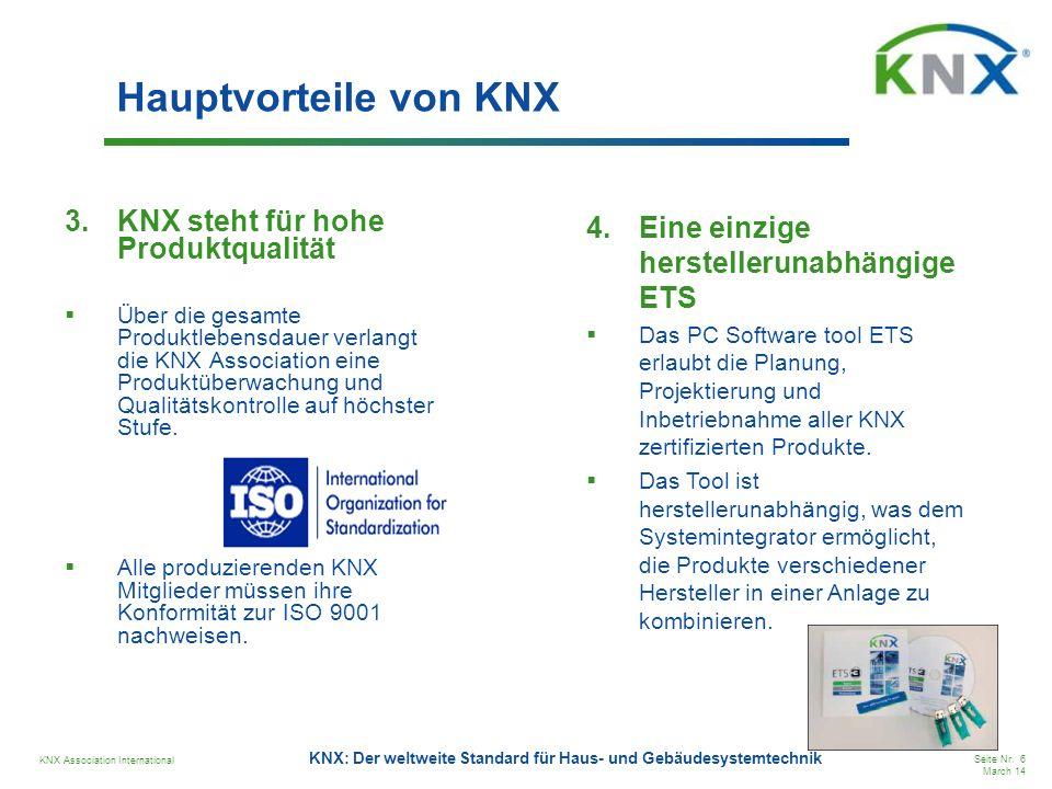 Hauptvorteile von KNX KNX steht für hohe Produktqualität