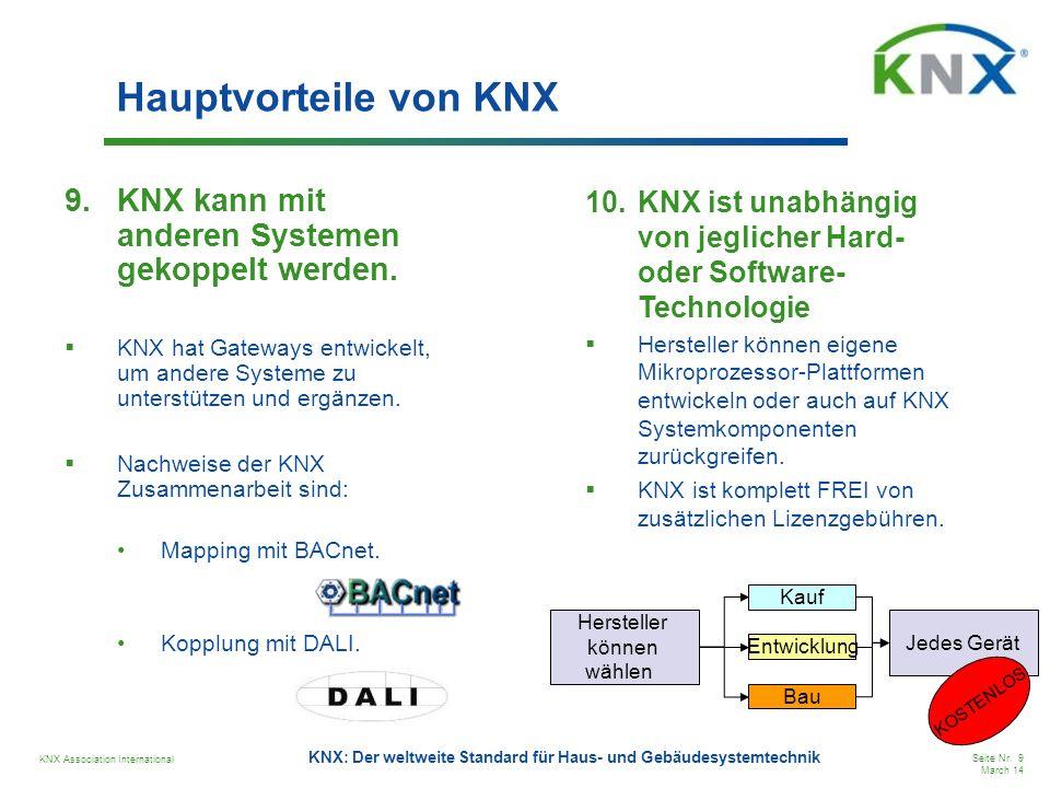 Hauptvorteile von KNX KNX kann mit anderen Systemen gekoppelt werden.