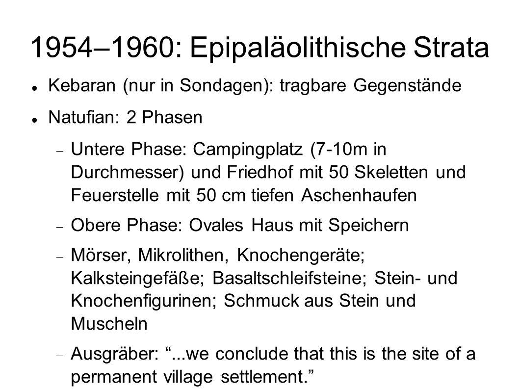 1954–1960: Epipaläolithische Strata