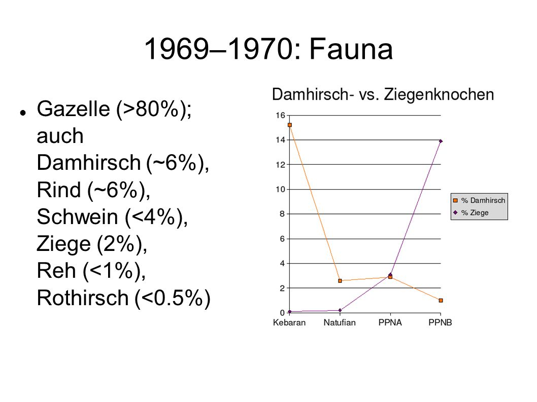 1969–1970: FaunaGazelle (>80%); auch Damhirsch (~6%), Rind (~6%), Schwein (<4%), Ziege (2%), Reh (<1%), Rothirsch (<0.5%)