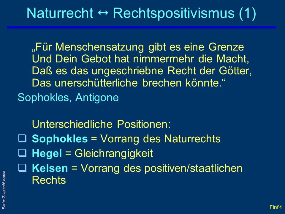 Naturrecht  Rechtspositivismus (1)