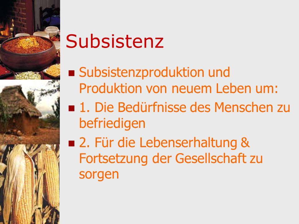 Subsistenz Subsistenzproduktion und Produktion von neuem Leben um: