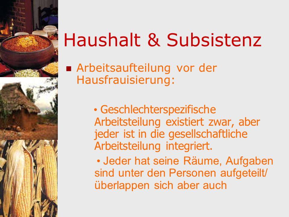 Haushalt & Subsistenz Arbeitsaufteilung vor der Hausfrauisierung: