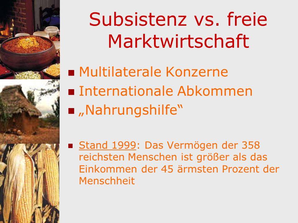 Subsistenz vs. freie Marktwirtschaft
