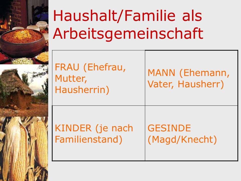 Haushalt/Familie als Arbeitsgemeinschaft