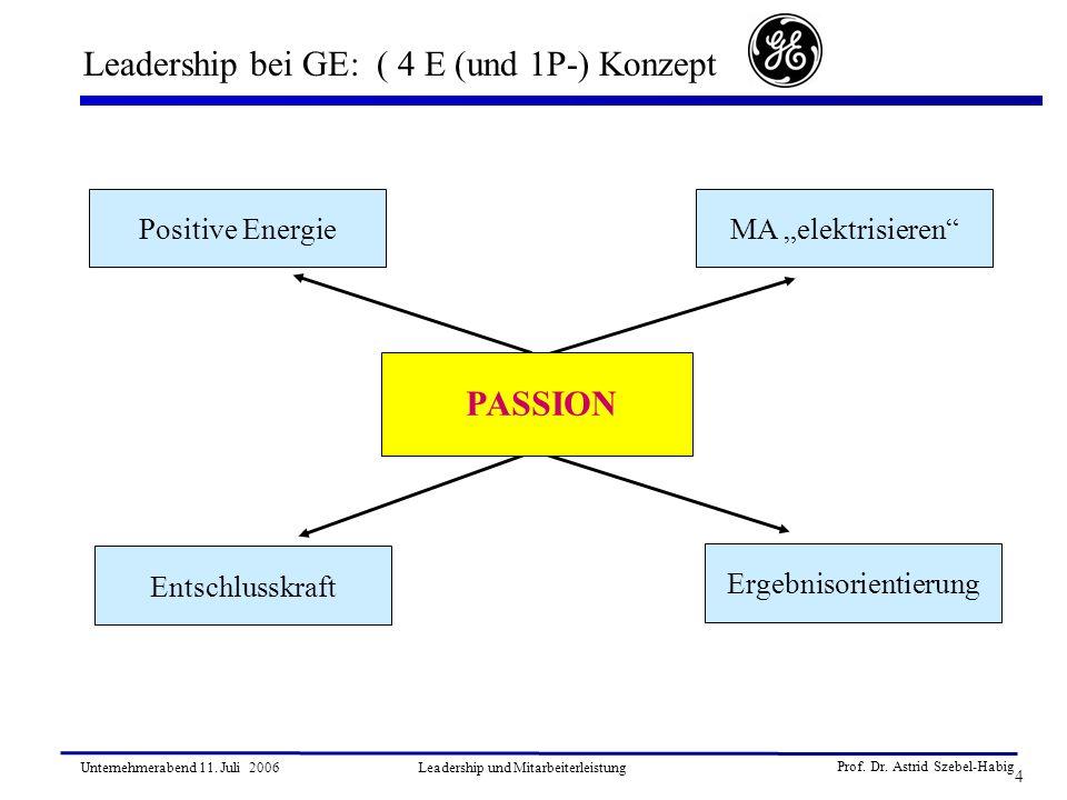 Leadership bei GE: ( 4 E (und 1P-) Konzept