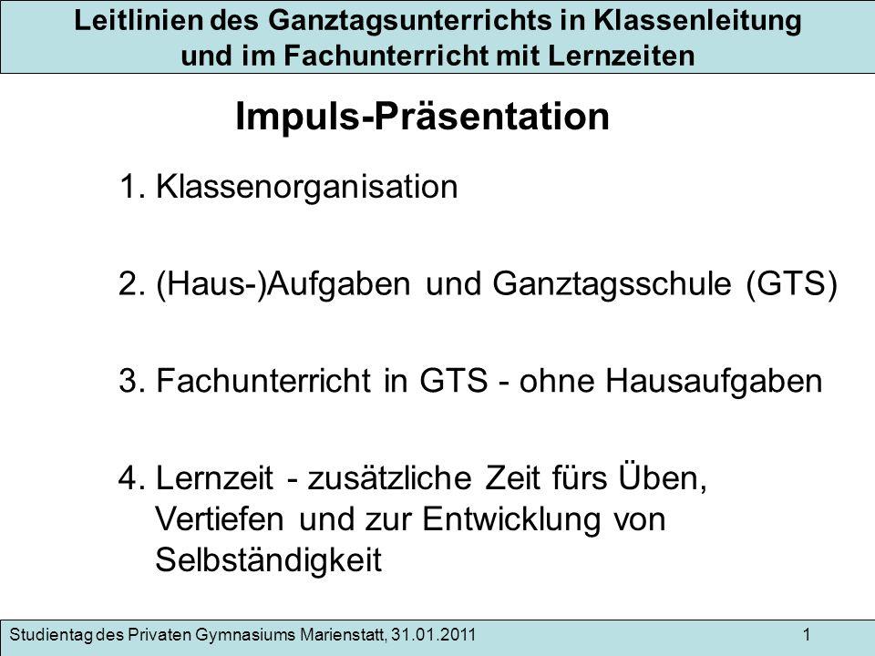 Impuls-Präsentation 1. Klassenorganisation
