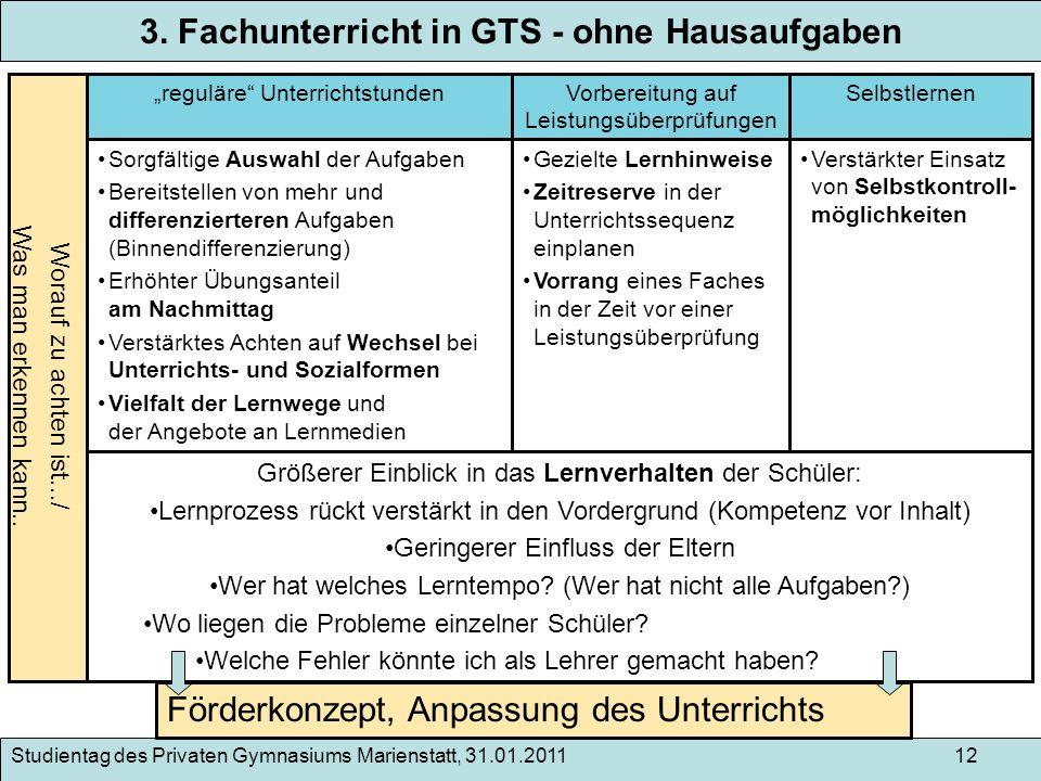 3. Fachunterricht in GTS - ohne Hausaufgaben