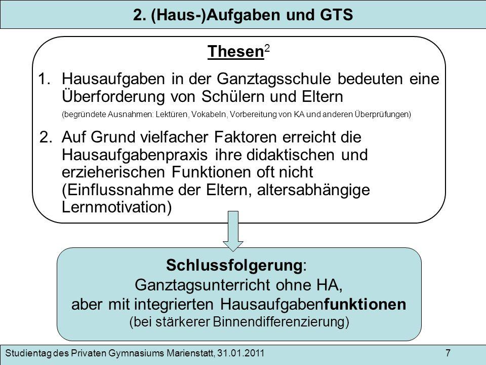 2. (Haus-)Aufgaben und GTS