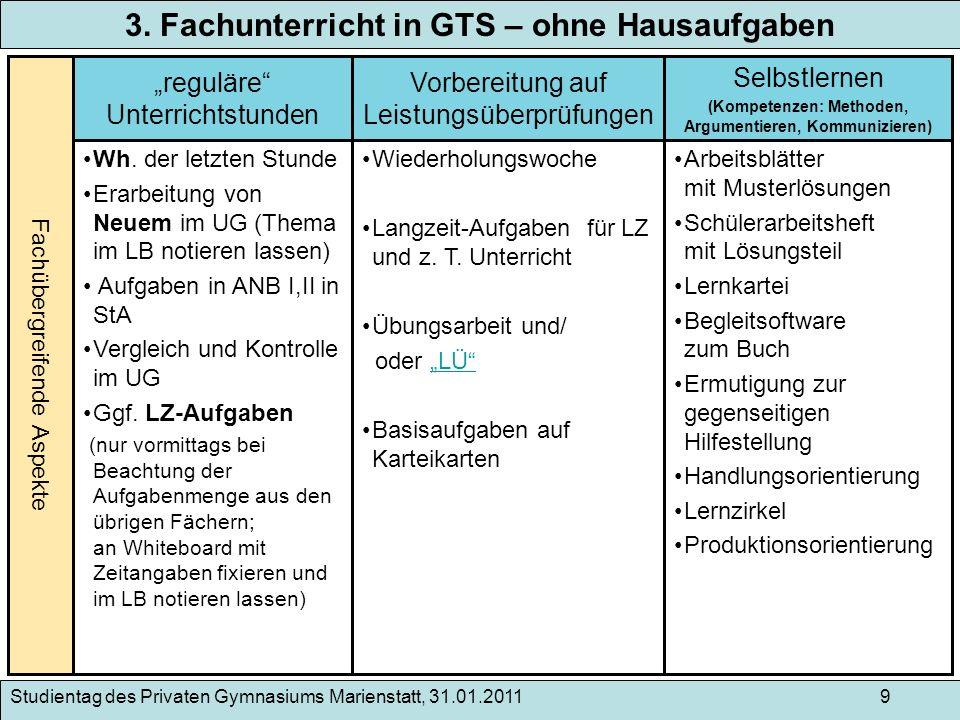 3. Fachunterricht in GTS – ohne Hausaufgaben