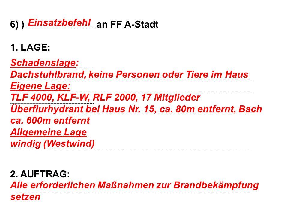 6) ) an FF A-Stadt 1. LAGE: 2. AUFTRAG: Einsatzbefehl. Schadenslage: Dachstuhlbrand, keine Personen oder Tiere im Haus.