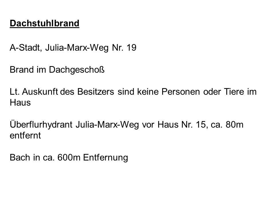 Dachstuhlbrand A-Stadt, Julia-Marx-Weg Nr. 19. Brand im Dachgeschoß. Lt. Auskunft des Besitzers sind keine Personen oder Tiere im Haus.
