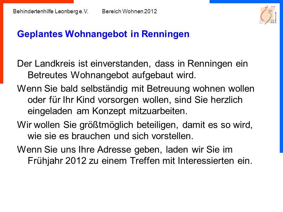 Geplantes Wohnangebot in Renningen