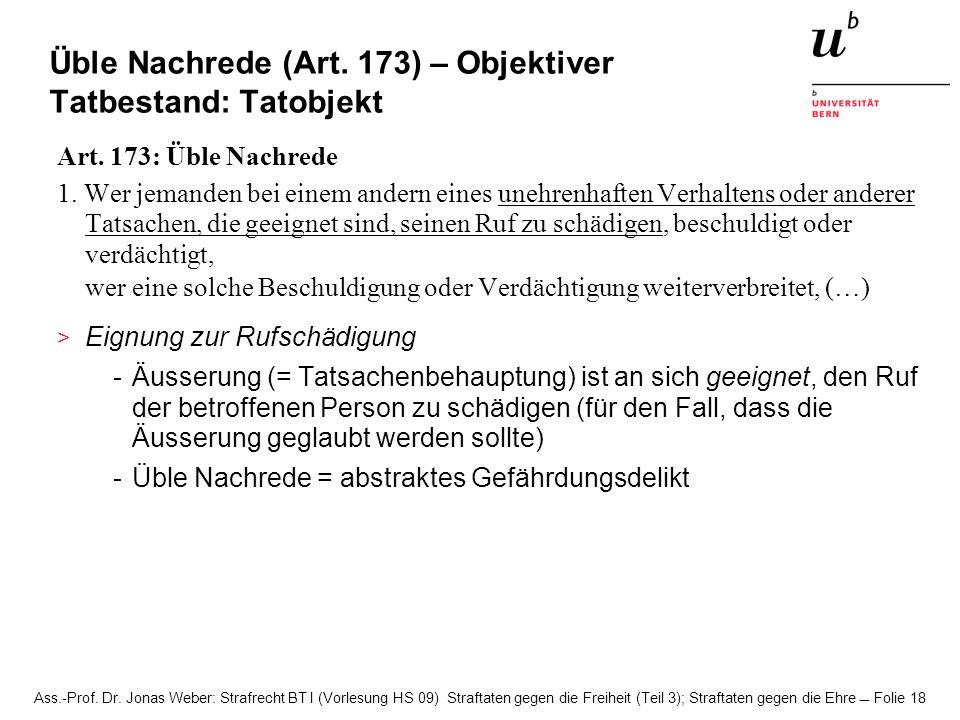 Üble Nachrede (Art. 173) – Objektiver Tatbestand: Tatobjekt