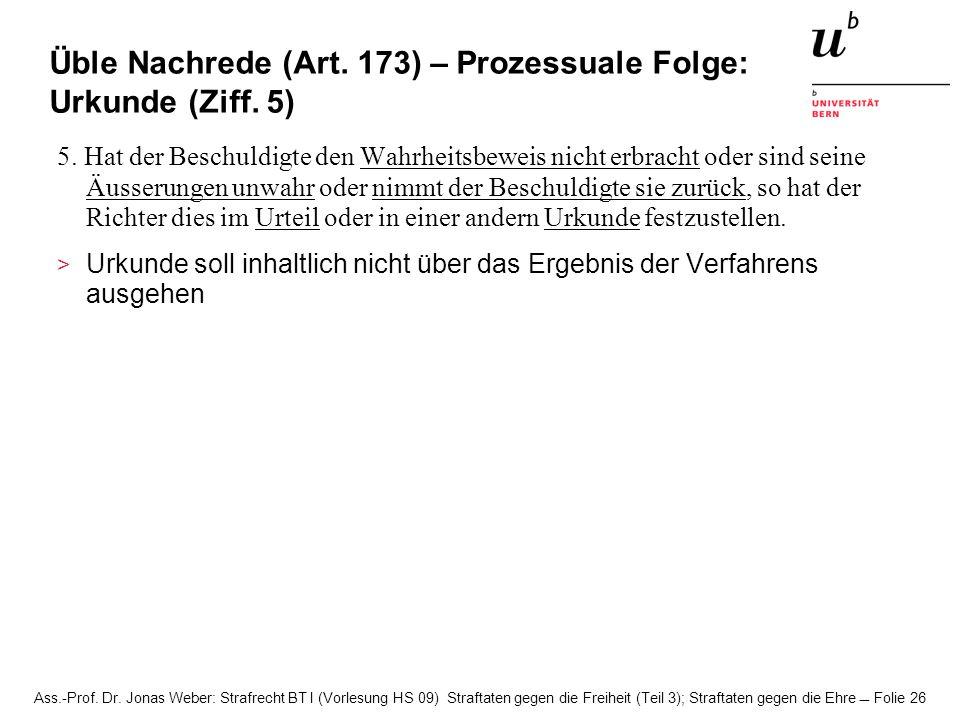 Üble Nachrede (Art. 173) – Prozessuale Folge: Urkunde (Ziff. 5)