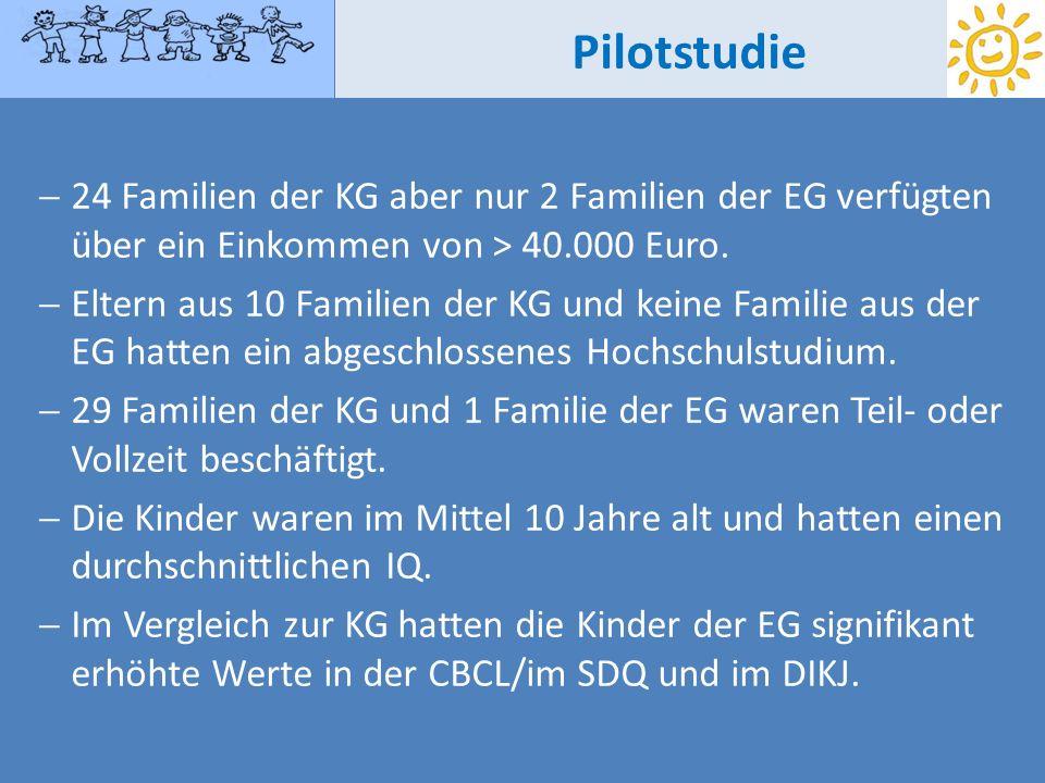 Pilotstudie24 Familien der KG aber nur 2 Familien der EG verfügten über ein Einkommen von > 40.000 Euro.