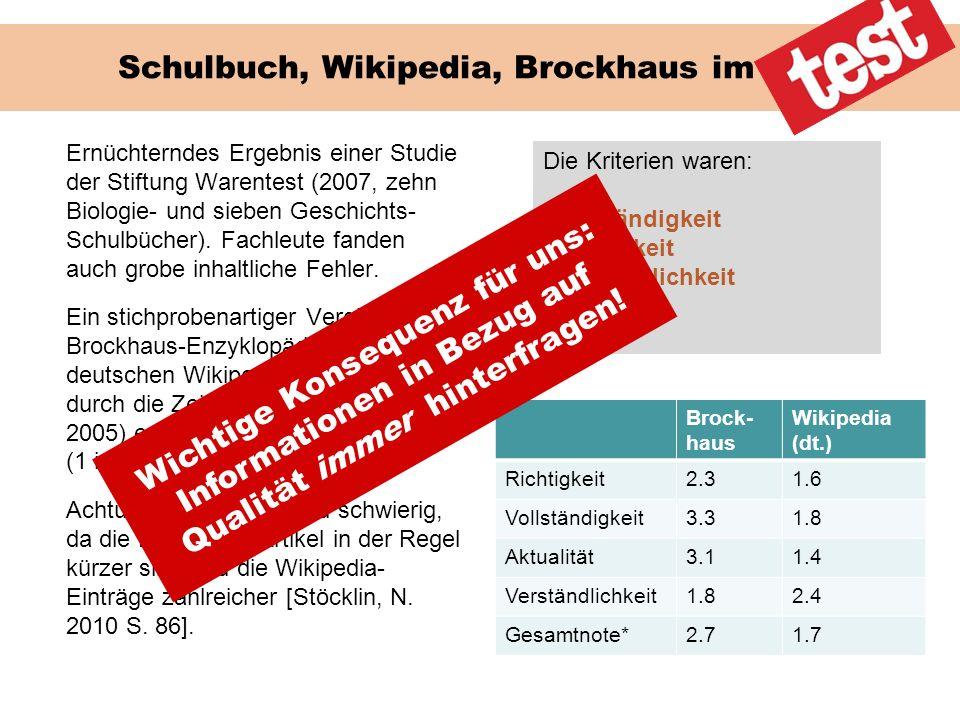 Schulbuch, Wikipedia, Brockhaus im Test
