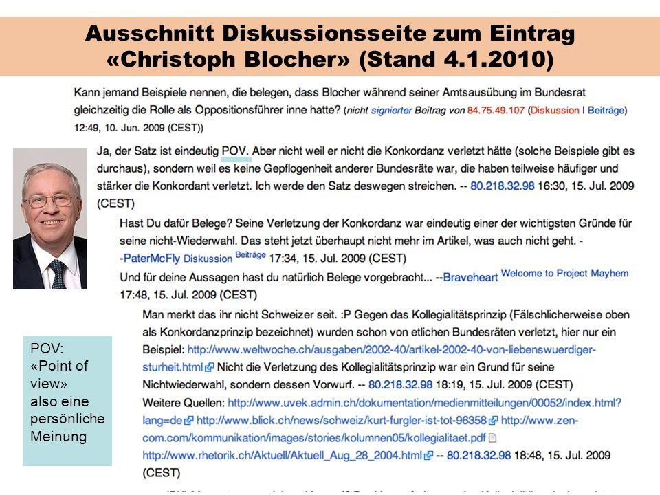Ausschnitt Diskussionsseite zum Eintrag «Christoph Blocher» (Stand 4.1.2010)