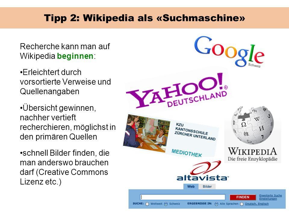Tipp 2: Wikipedia als «Suchmaschine»