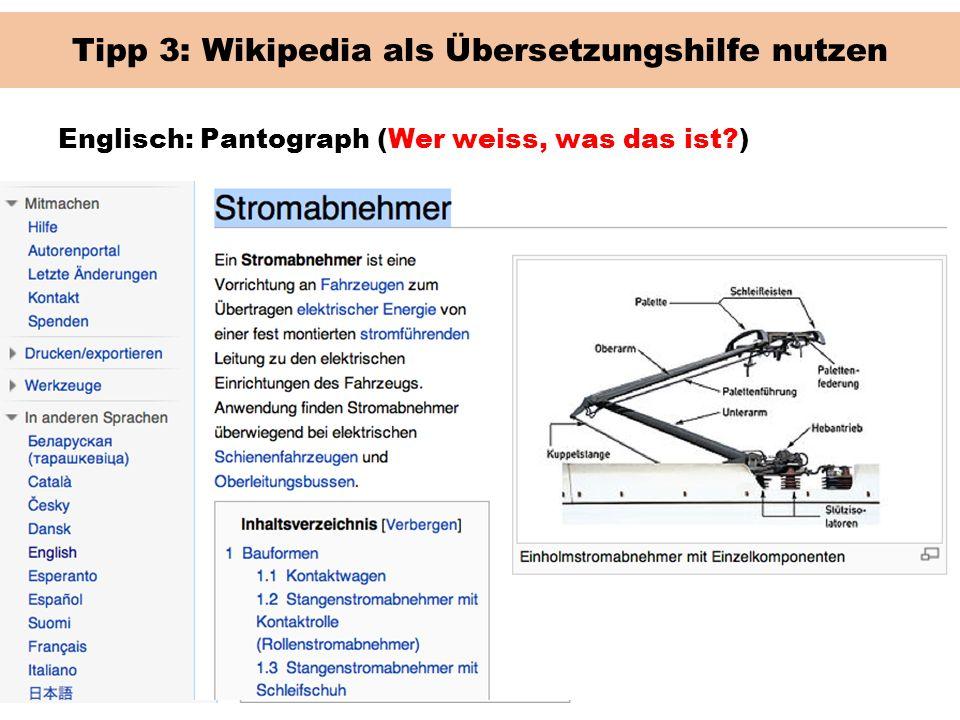 Tipp 3: Wikipedia als Übersetzungshilfe nutzen