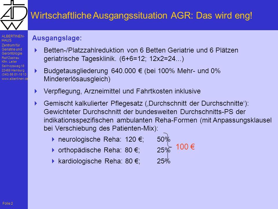 Wirtschaftliche Ausgangssituation AGR: Das wird eng!