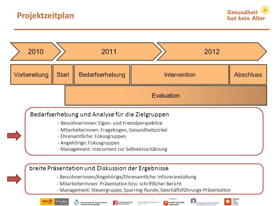 Projektzeitplan Bedarfserhebung und Analyse für die Zielgruppen